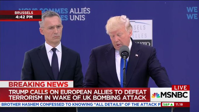 Trump just tried to shake down the other NATO leaders. The looks on their faces. He doesn't even get what NATO is. https://t.co/Qkr9LDZbs0