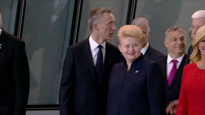 WATCH: Pres. Trump places hand on fellow NATO leader and moves him aside to return to front of group of leaders. https://t.co/p2PNAKHwKR