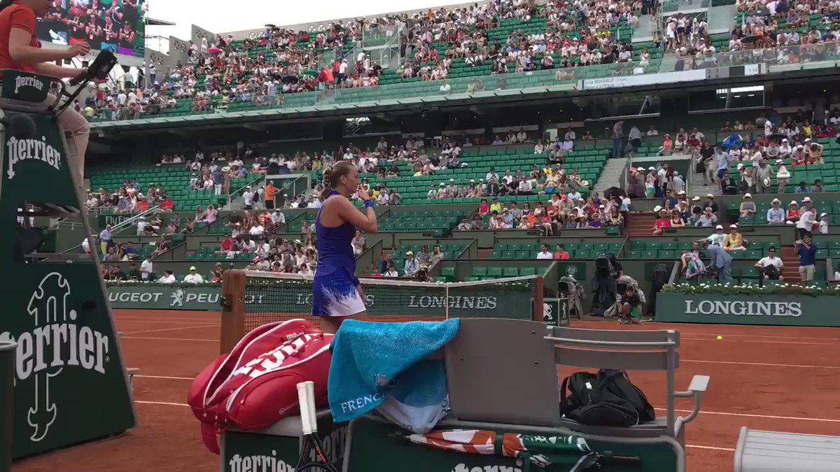 An emotional win for @Petra_Kvitova.   What an inspiration. #RG17 http...