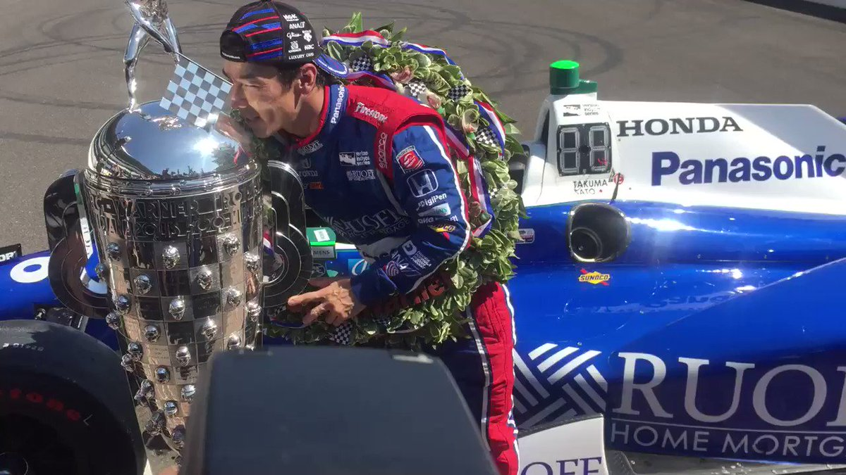 Up close with @TakumaSatoRacer as he gets to know the success of the Indy 500 @IMS @Thatdude3942 https://t.co/Qi8TSo1A5L
