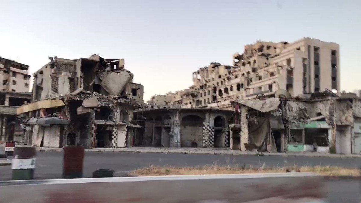 In Homs city in Syria which looks like a haunted city now..totally deserted and devastated.