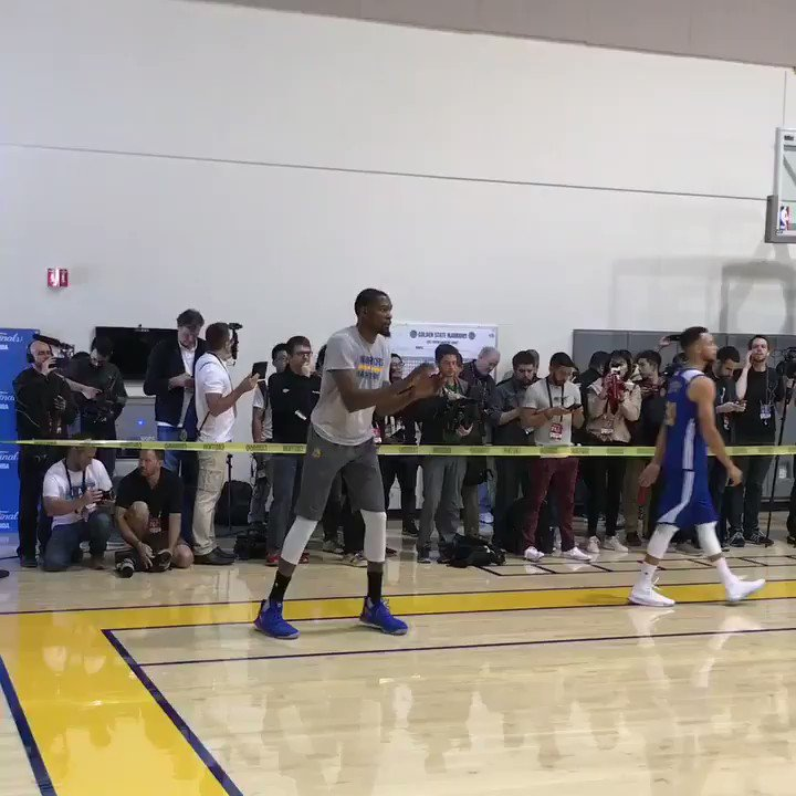 Steph Curry and Kevin Durant get hot from the perimeter at @Warriors practice! #NBAFinals #DunNation
