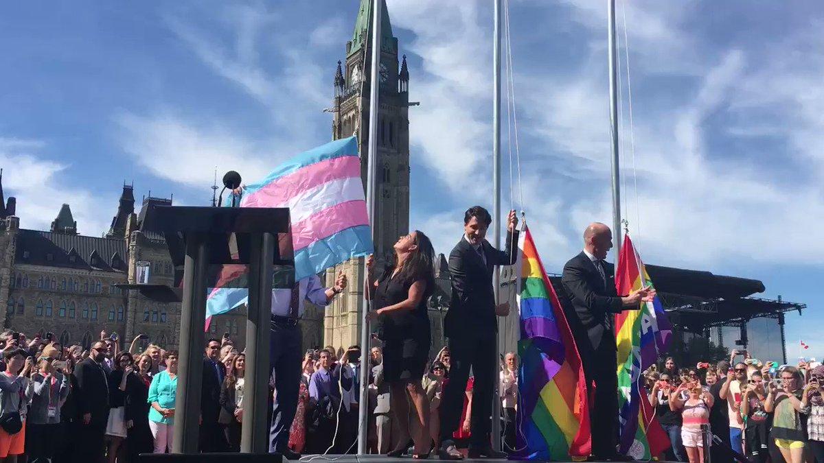 The pride flag, trans pride flag and Canada 150 pride flag are raised on Parliament Hill #cdnpoli https://t.co/JhONxAVQgg