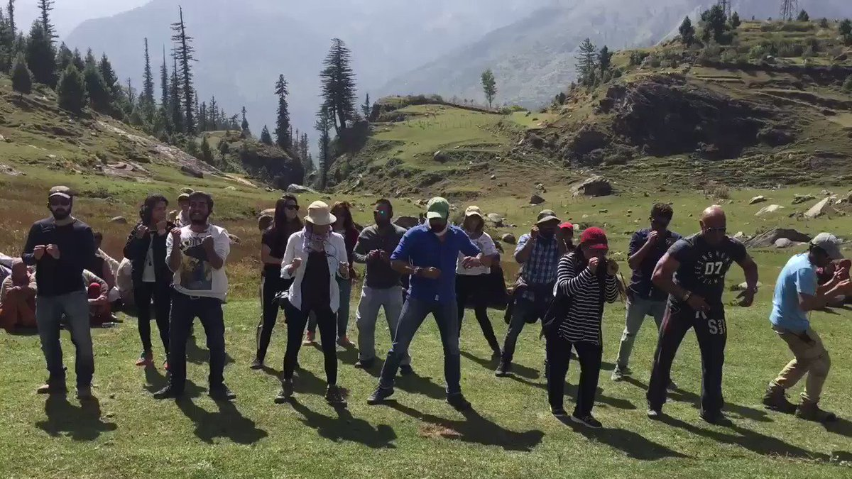 Team #Tubelight dancing on set 😊Im proud to be centre stage 😛
