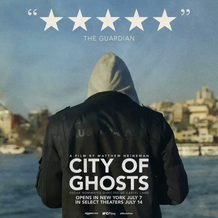 """.@guardian gives #CityofGhosts FIVE STARS, calling it """"a remarkable documentary."""" Opens in NYC July 7 & select theaters July 14."""