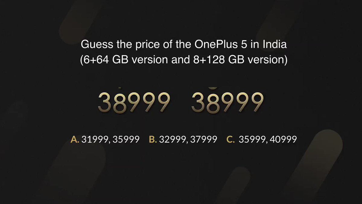 And the final and most awaited question! #OnePlus5Launch https://t.co/...
