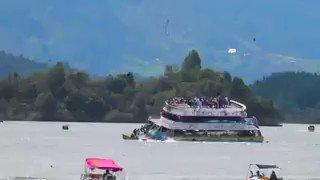 Accidente de embarcación con decenas de turistas en la represa de Guat...