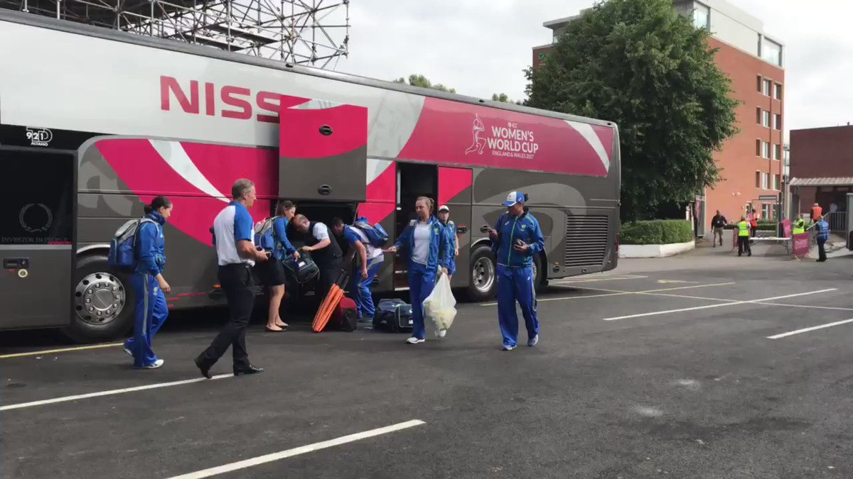 The @SouthernStars arriving for today's match v West Indies! #WWC17 #A...