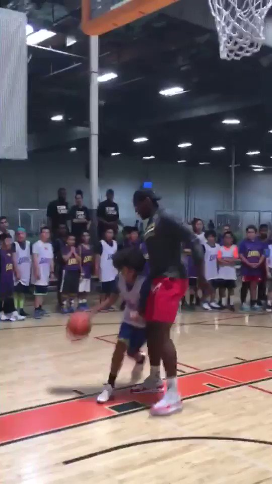 """My 12 year old son, Nils, """"beats"""" Lakers' Tarik Black in one-on-one @lakers camp https://t.co/1XT7VO3Uyr"""