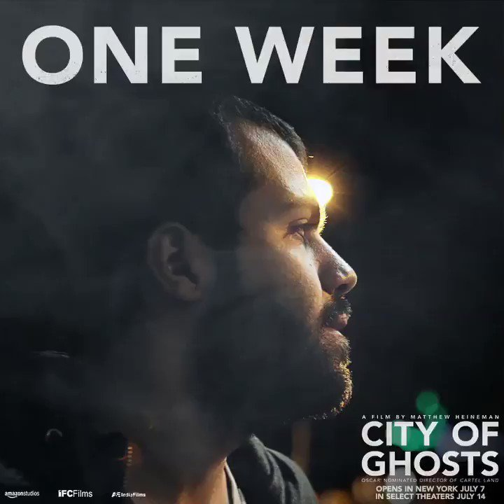 """#CityofGhosts, """"the story of brave citizen journalists as they face one of the greatest evils in the world today,"""" opens in NYC in ONE WEEK."""