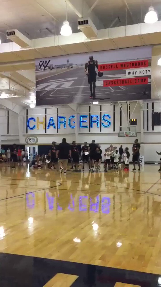 Russell Westbrook gets 'MVP' chants from campers after making halfcourt shot