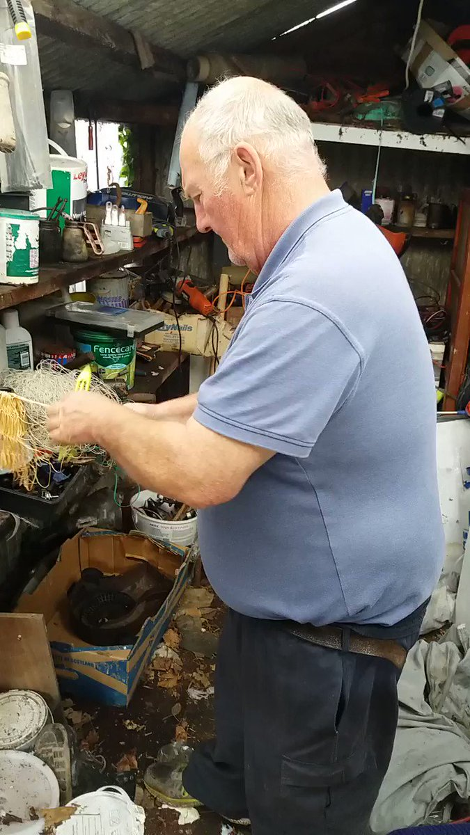 Wilf #knitting #haafnets in #Caerlaverock.  Come and see him demo at #Caerlaverock60 th open day at Barbour Hall, #Glencaple this Saturday!
