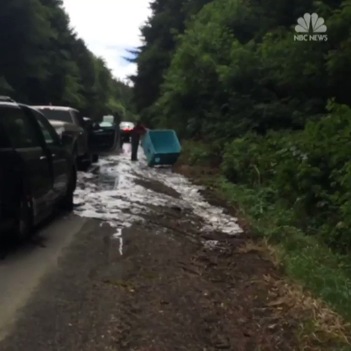 Eek alert: A truck of hagfish spilled, slimed, and ultimately closed down part of a highway in Oregon. https://t.co/VmPoasju69