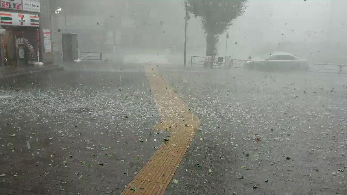 外でたら死にます。この雹。駅から出られない。 pic.twitter.com/4QEoy1Mutb