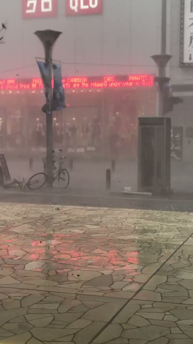 #ゲリラ豪雨 池袋なう 雹が降ってるヤベェ