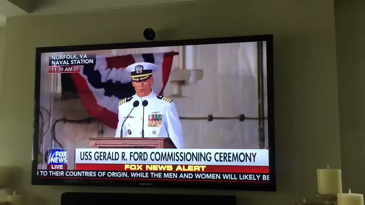 SO proud of my cousin! LT Patrick Miller, Asst Navigator on USS Gerald R. Ford, as he displays the President's flag @ ship's commissioning🇺🇸