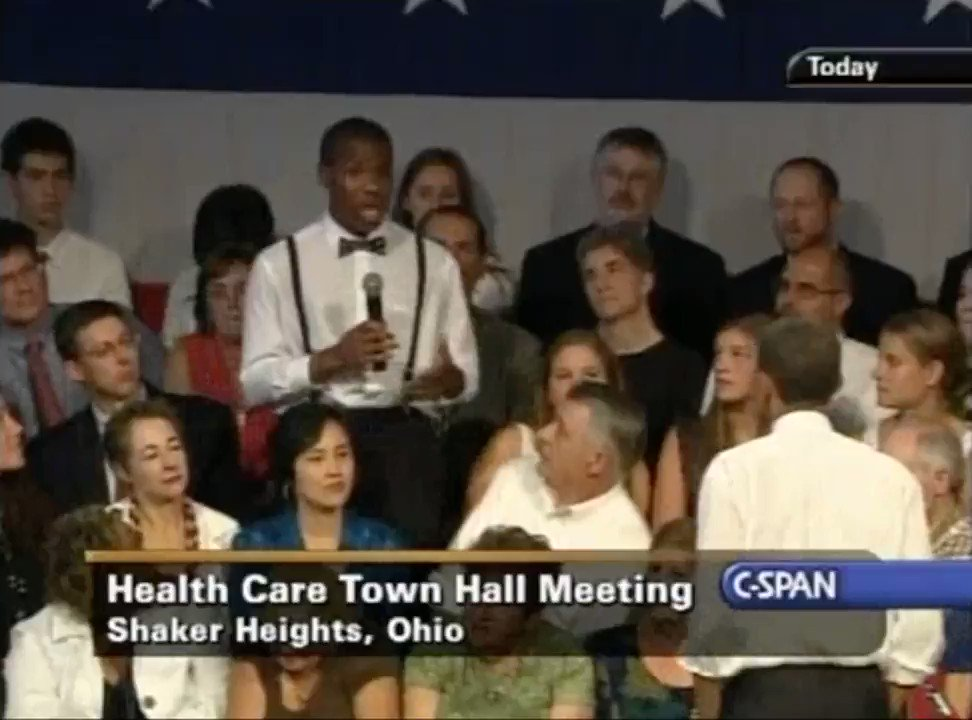 EIGHT YEARS AGO TODAY — Obama does 2-hour health care town hall in Ohio, takes questions and defends his plan. https://t.co/uQMInnuO5G