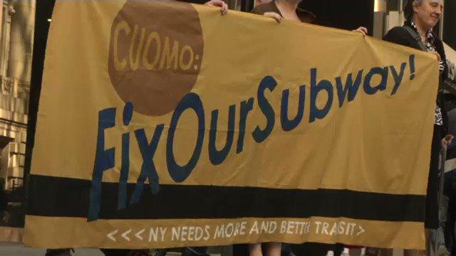 Protesters gathered outside MTA headquar...