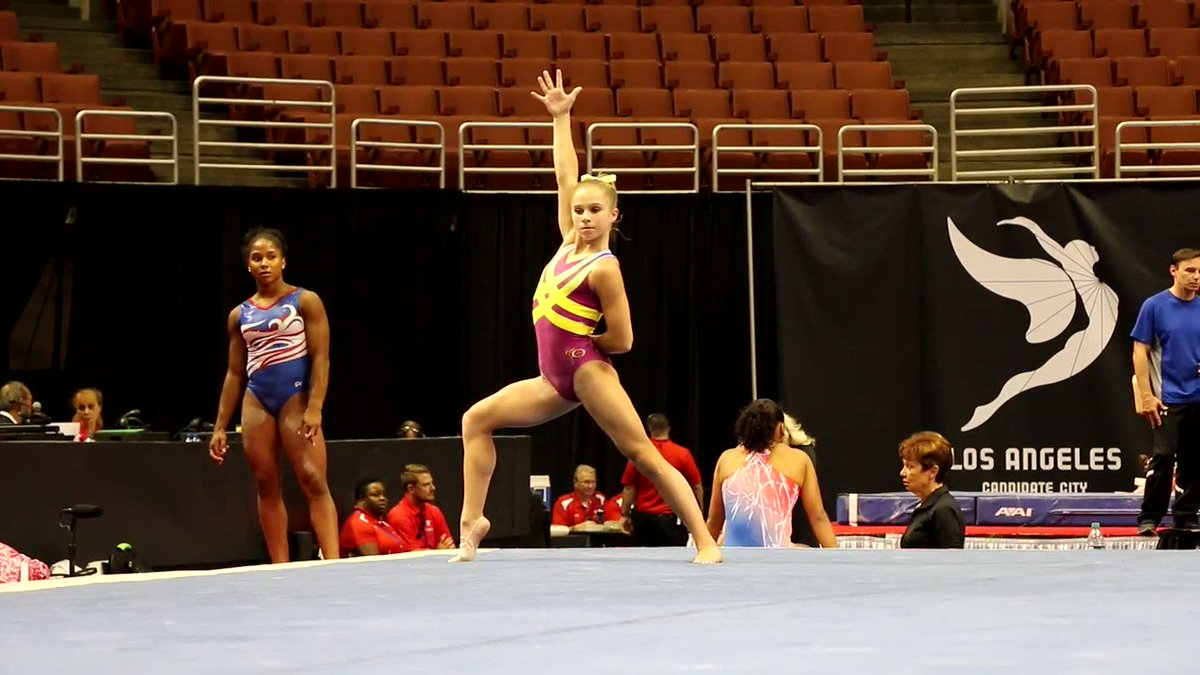 Ragan Smith showed off her new floor routine today!💃 What do you think...