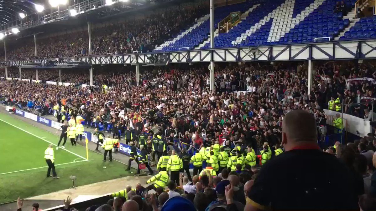 MAD: Hajduk fans throwing chairs at Everton fans in Goodison Park. 😱💥...
