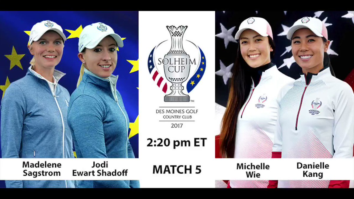 Friday afternoon matchups at #SolheimCup2017. Europe 2 1/2 - USA 1 1/2...
