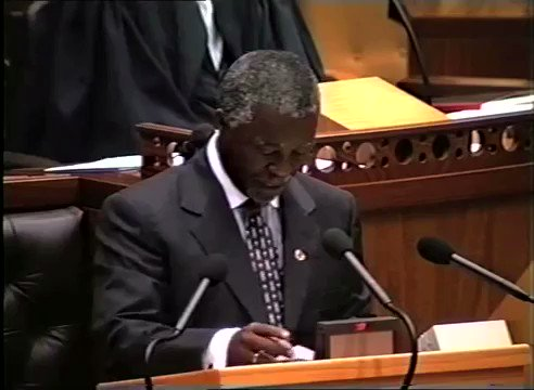 Mbeki' Xhosa poem inside the National Assembly at the farewell of Nelson Mandela as president. That poem