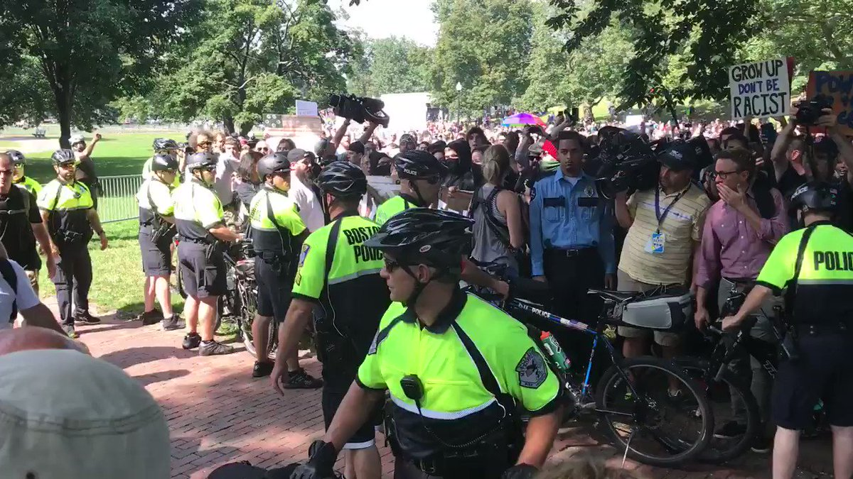 CHANTING: SHAME! SHAME! at nazis as they try to enter the Boston nazi...