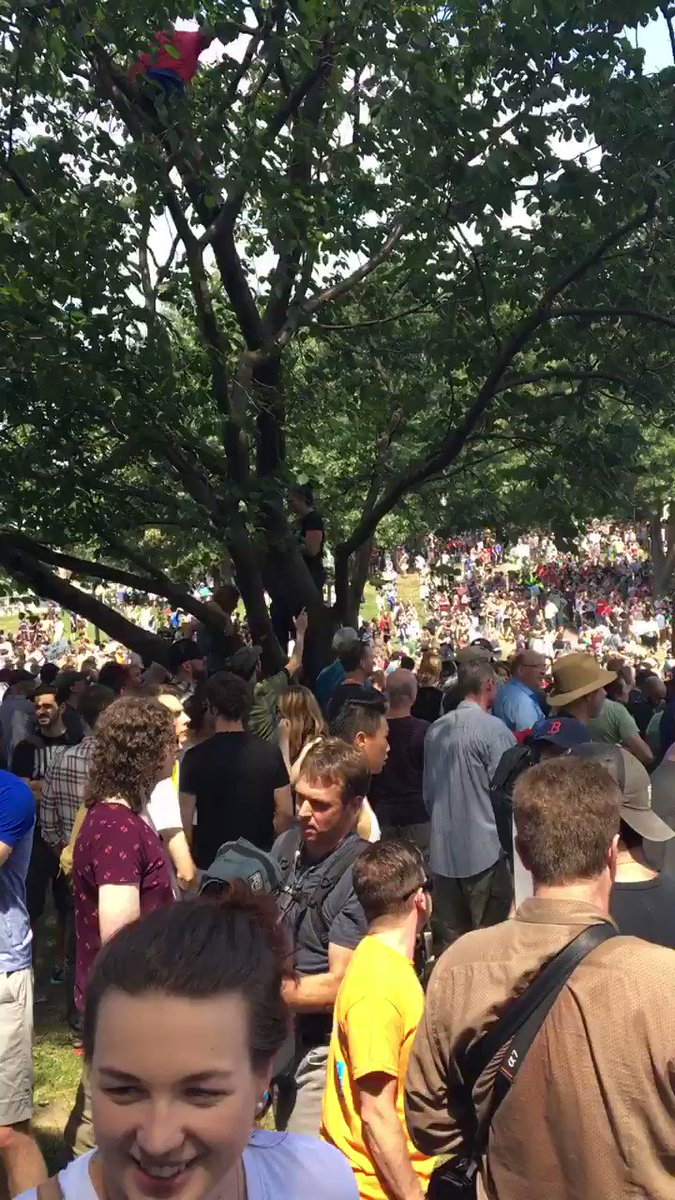 The hate speech rally in Boston has about 100 white supremacists and TWENTY THOUSAND peaceful protestors...