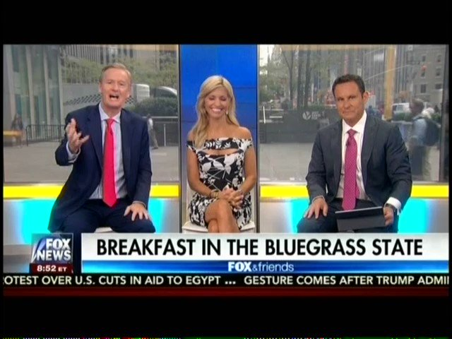 """Fox & Friends abruptly cuts away from a diner after someone shows a """"Fox Lies"""" sign and says Fox News is fake news https://t.co/ImQOLDICtk"""