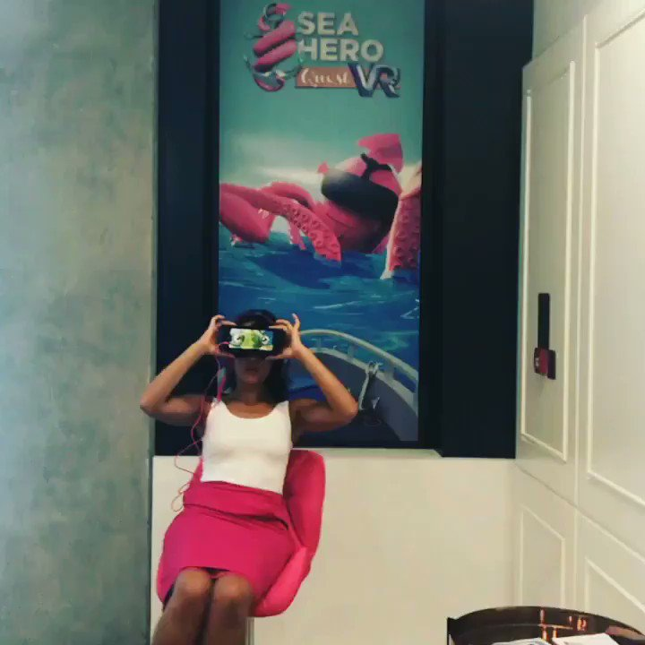 Giving our new magenta chair a whirl #gameforgood #seaheroquest #VR @Telekom_group https://t.co/DRYQqXJSBq