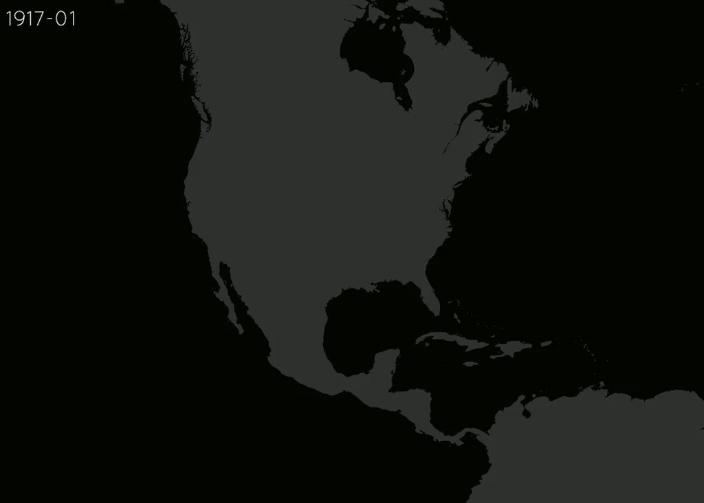 100 years of hurricane paths over North America, animated https://t.co/A3iiLvLVhD