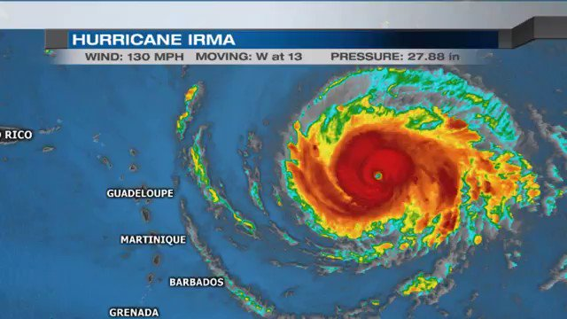 Hurricane Irma has been upgraded to a Category 4 hurricane and has a 5-Day track that takes it near Florida by SAT. https://t.co/xEvi0cUSHd