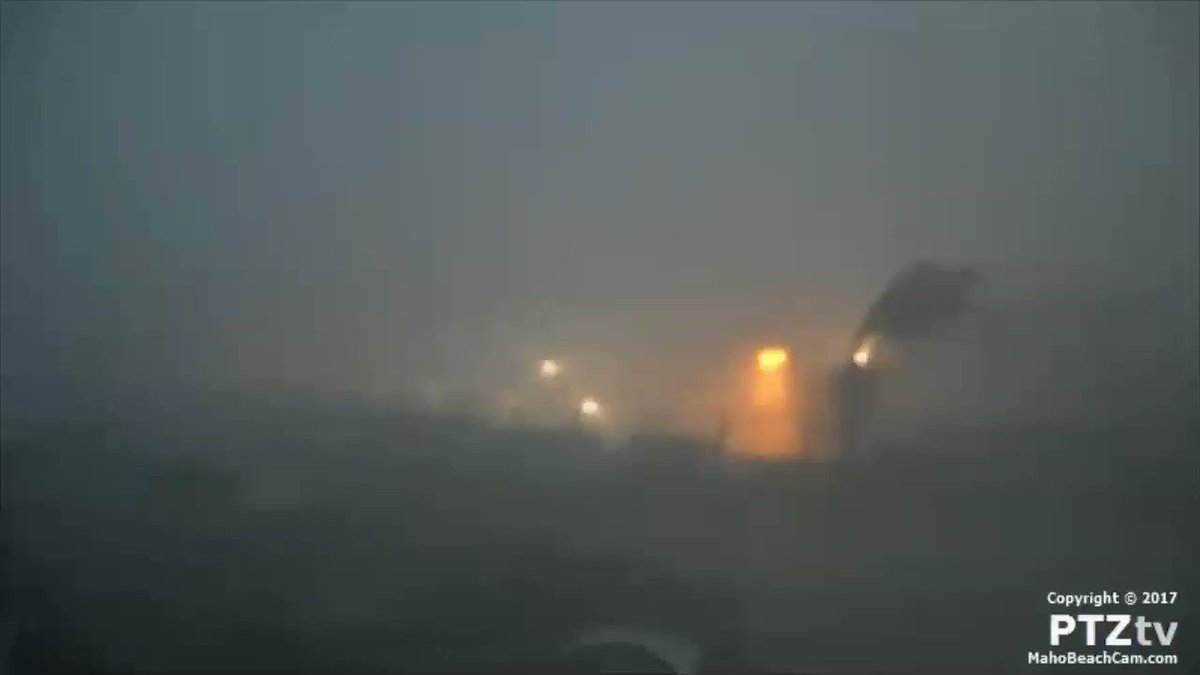 St. Maarten gets blasted overnight by the eye wall of Hurricane #Irma  Listen to the road of the wind. https://t.co/r5ehqxzNhu