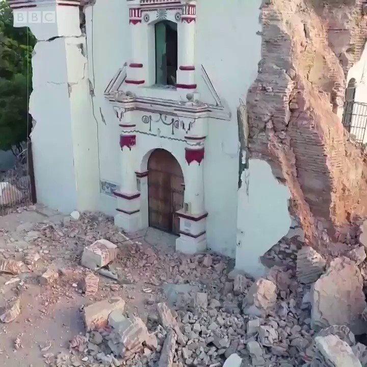 Las imágenes fueron grabadas por un dron y muestran el poder destructivo del #terremoto que afectó #México.