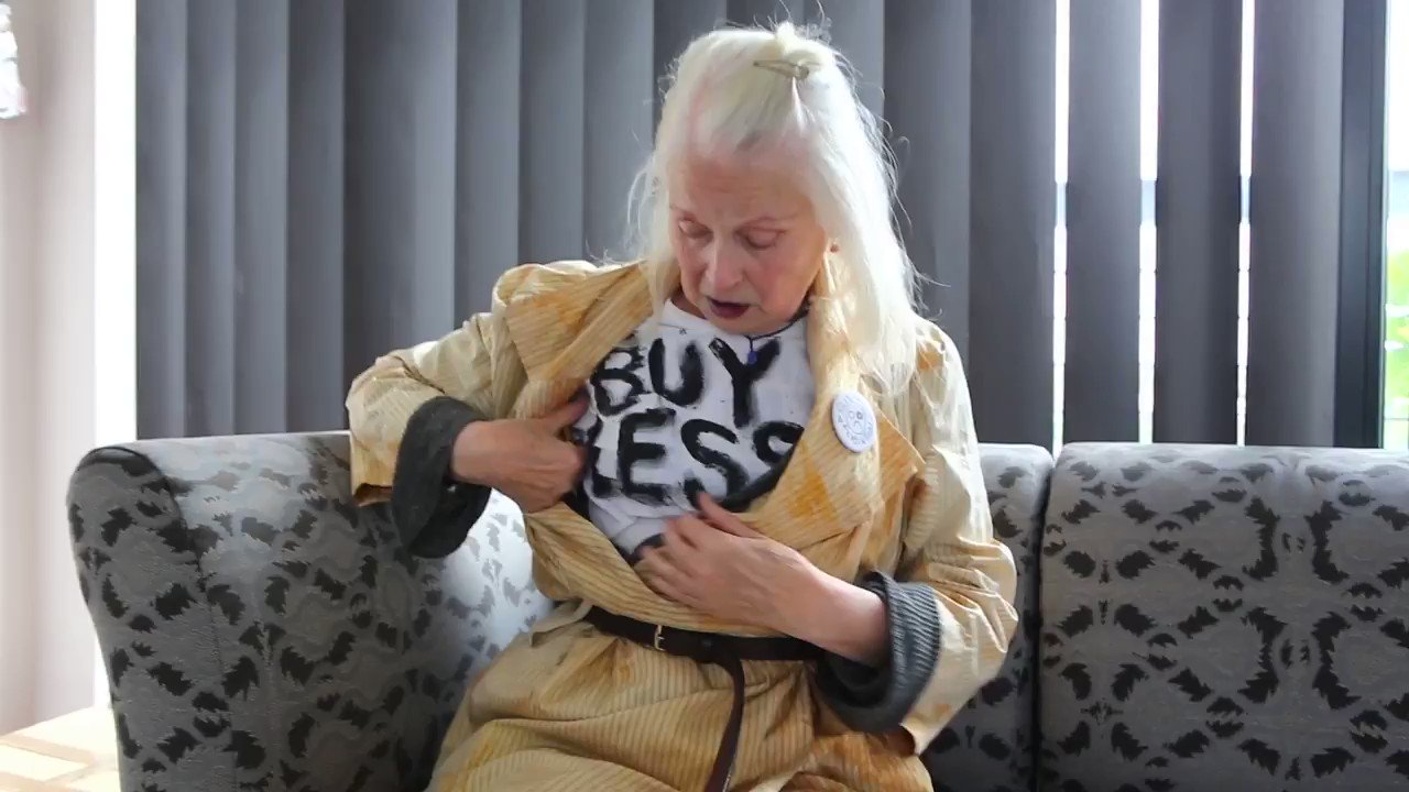"RT @FollowWestwood: ""Buy less"" -Vivienne. https://t.co/tto8CUb1Tg"