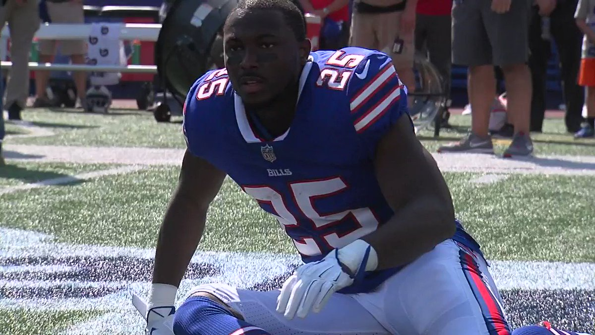 LeSean McCoy stretches during the national anthem. Video courtesy @Jen...