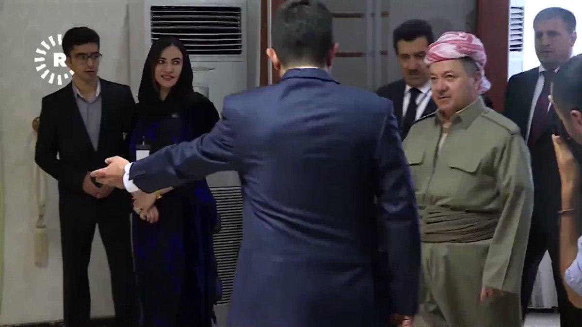 President Masoud Barzani casts his vote in Erbil Monday morning.  #Kur...
