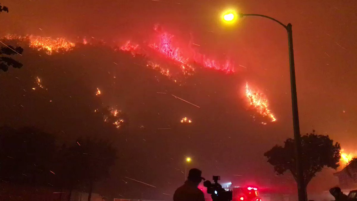 #CanyonFire racing down hillsides in Corona, but we haven't seen it re...