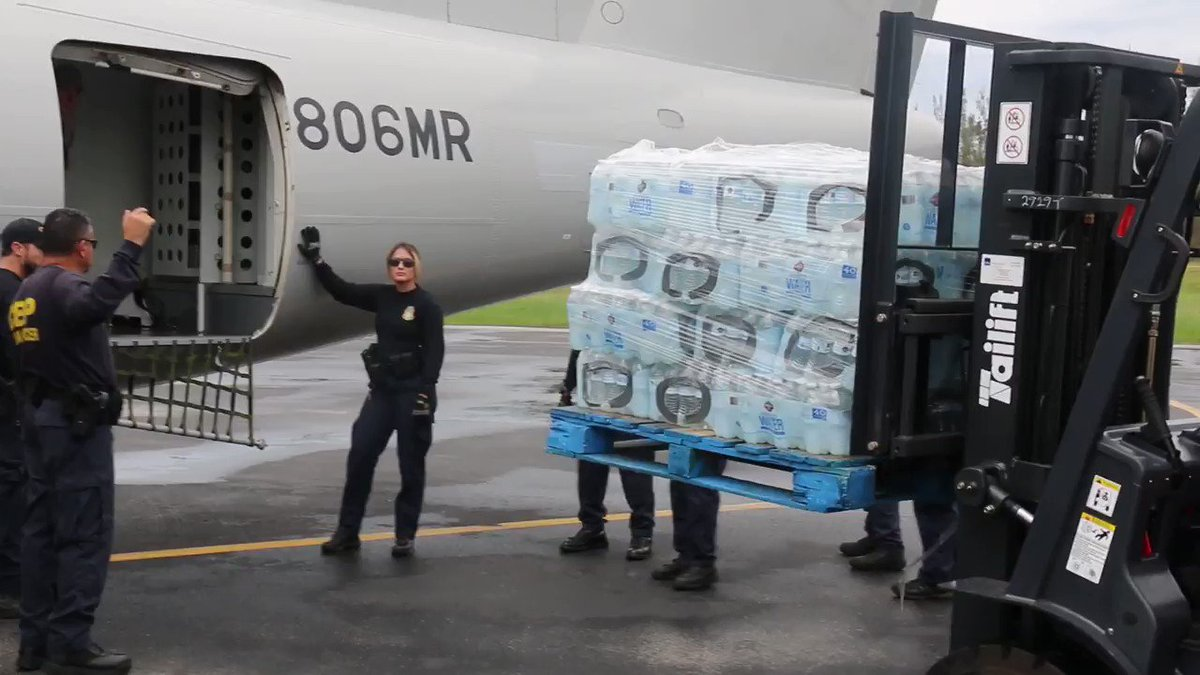 U.S. Customs and Border Protection personnel loading supplies with Air and Marine Operations aircrews in Homestead for relief efforts #Maria