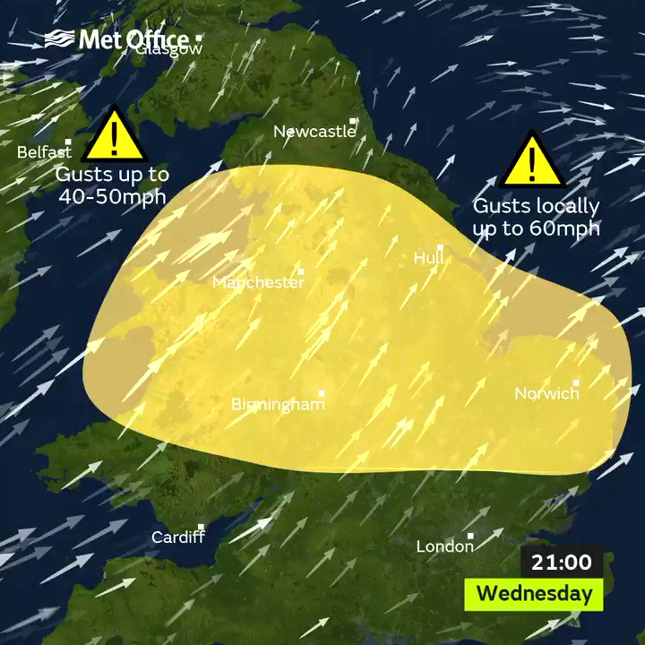 UK to be battered by 60mph gale-force winds and heavy rain
