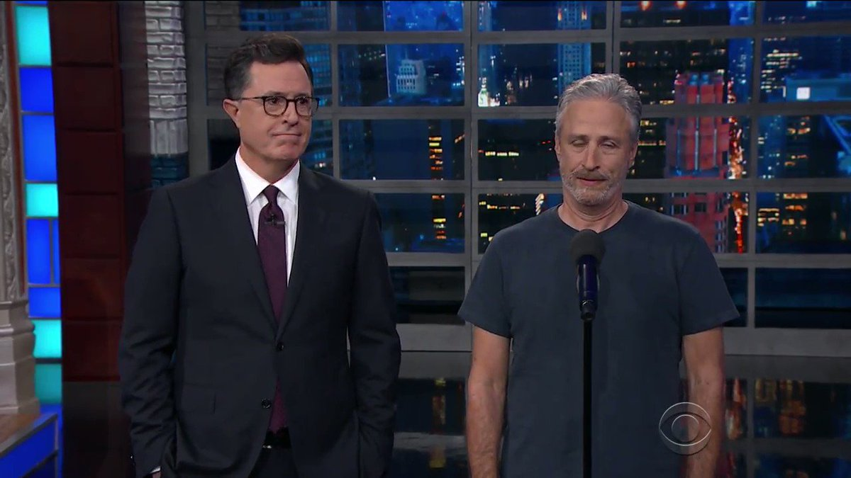 Jon Stewart went OFF on Trump on @colbertlateshow last night and it wa...