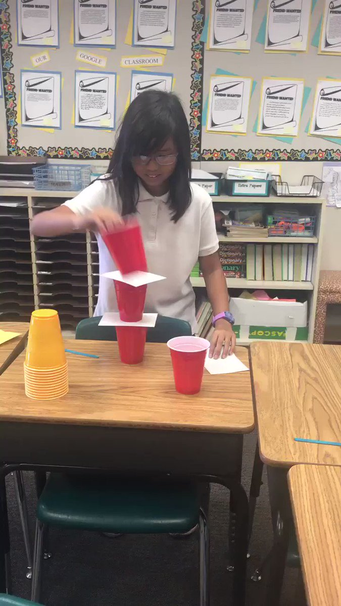 Cup challenge keeps students engaged in completing the task. @AnaheimElem