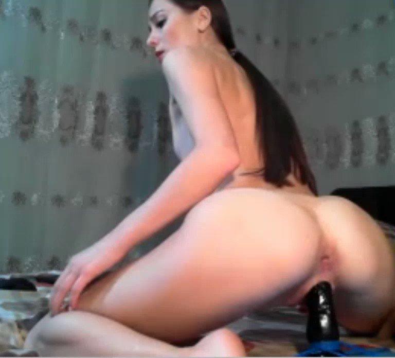 Hot cam girl rides dildo
