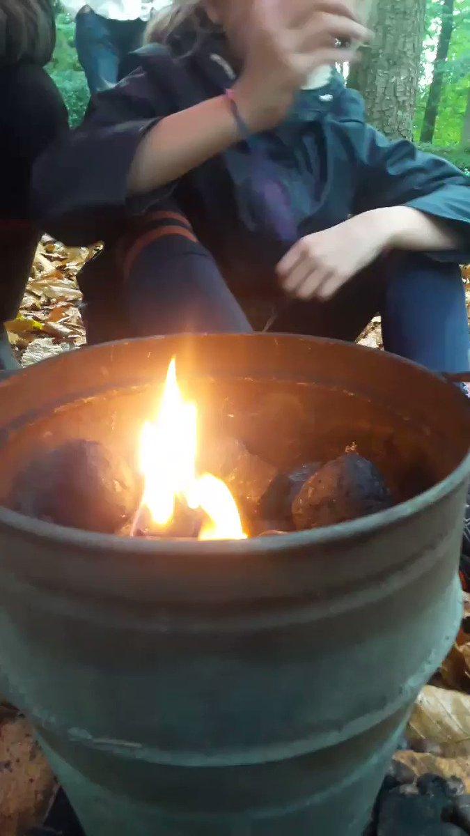 #Kastanjes poffen in bos kasteel Groeneveld met kinderen voor @SlowFoodNL Gooi, Eem & Vecht.