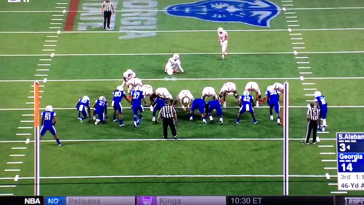 Somehow, South Alabama made this 46-yard FG that bounced off the crossbar 3 times