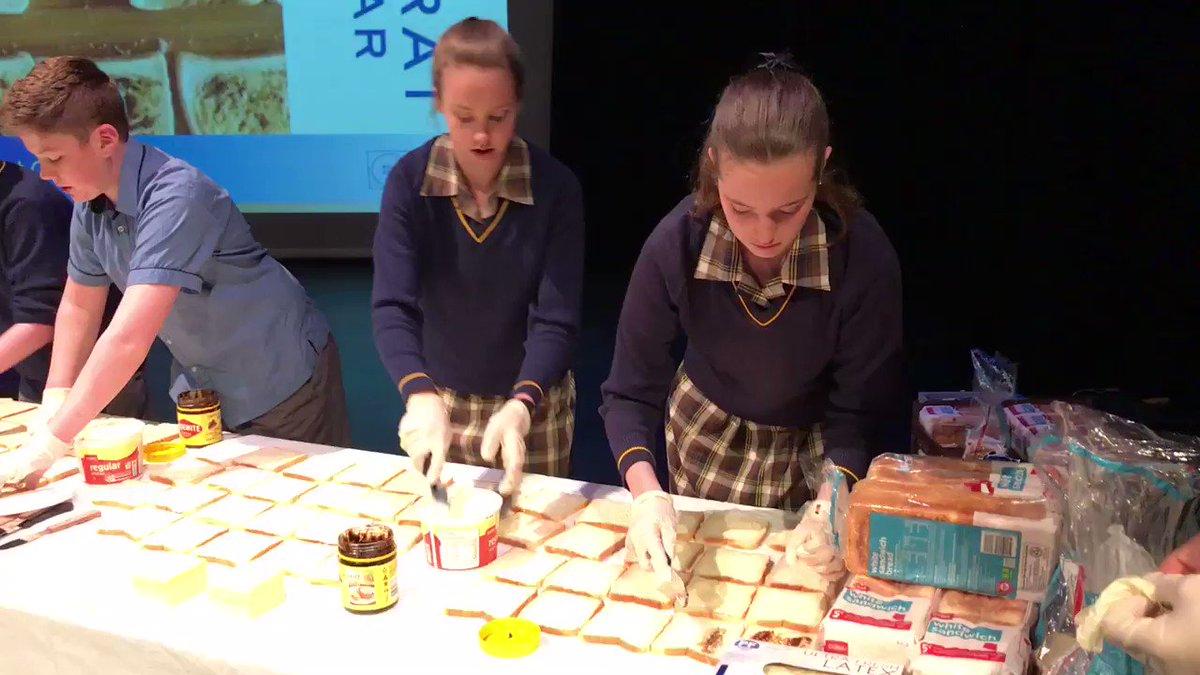 Ballarat Grammar Students at the sandwich production line