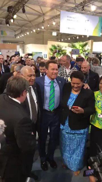 @Schwarzenegger visited the #Fiji Pavilion with #COP23 President @FijiPM today & took part in celebrating the #BulaSpirit