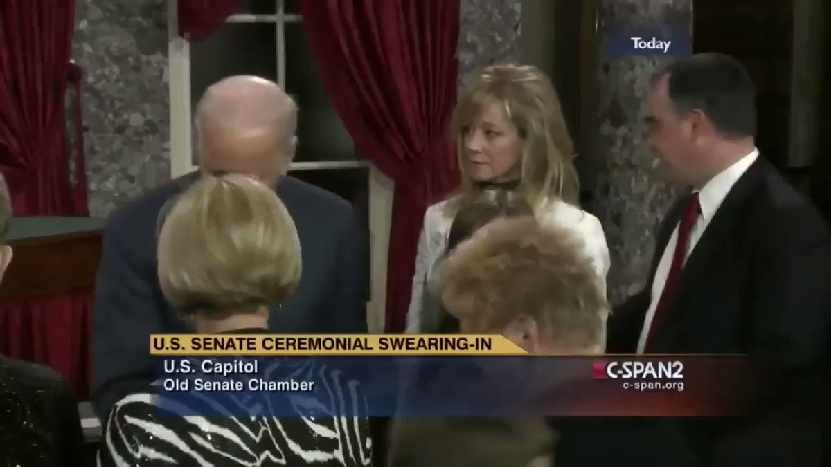 """In this clip, Biden swears-in (R) Senator Jim Risch. During photographs, Biden touches Risch's daughter, specifically asking to take a photo alone with her. You can hear Risch say """"Dad's going to stand pretty close."""" (I wonder why?) Biden even jokes and says, """"If I was young..."""""""