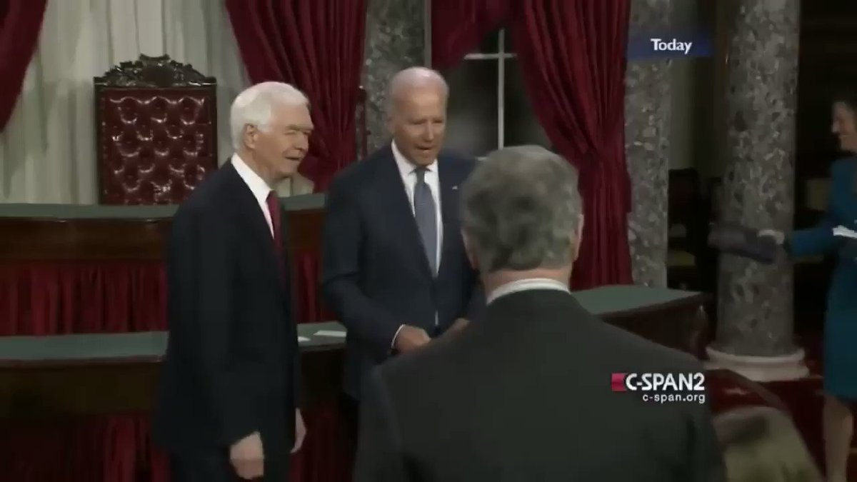 In this clip, Biden grabs onto a little girl he just met, continuing to grab her with one hand as he uses his other to shake hands with those he's being introduced to. Very awkward. He then starts stroking her face repeatedly.