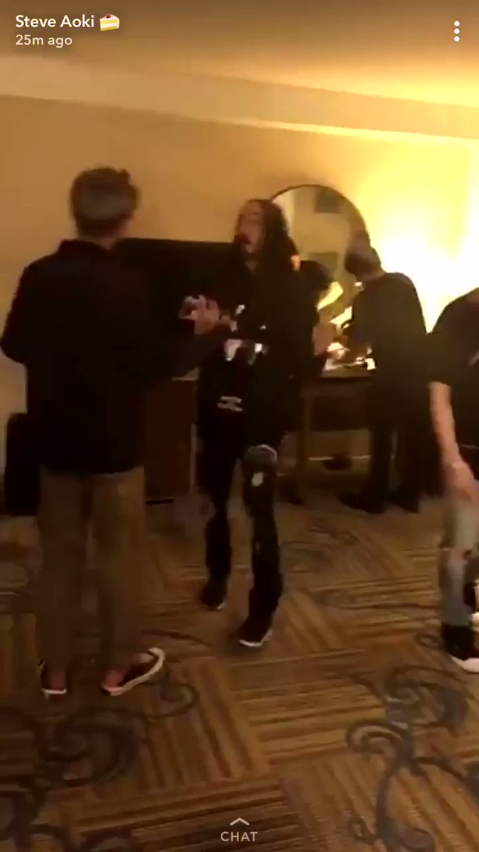 BTS currently with Steve Aoki via Steve'...